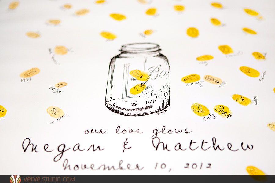 mason jar fingerprint guest book with fireflies love this for a summer wedding