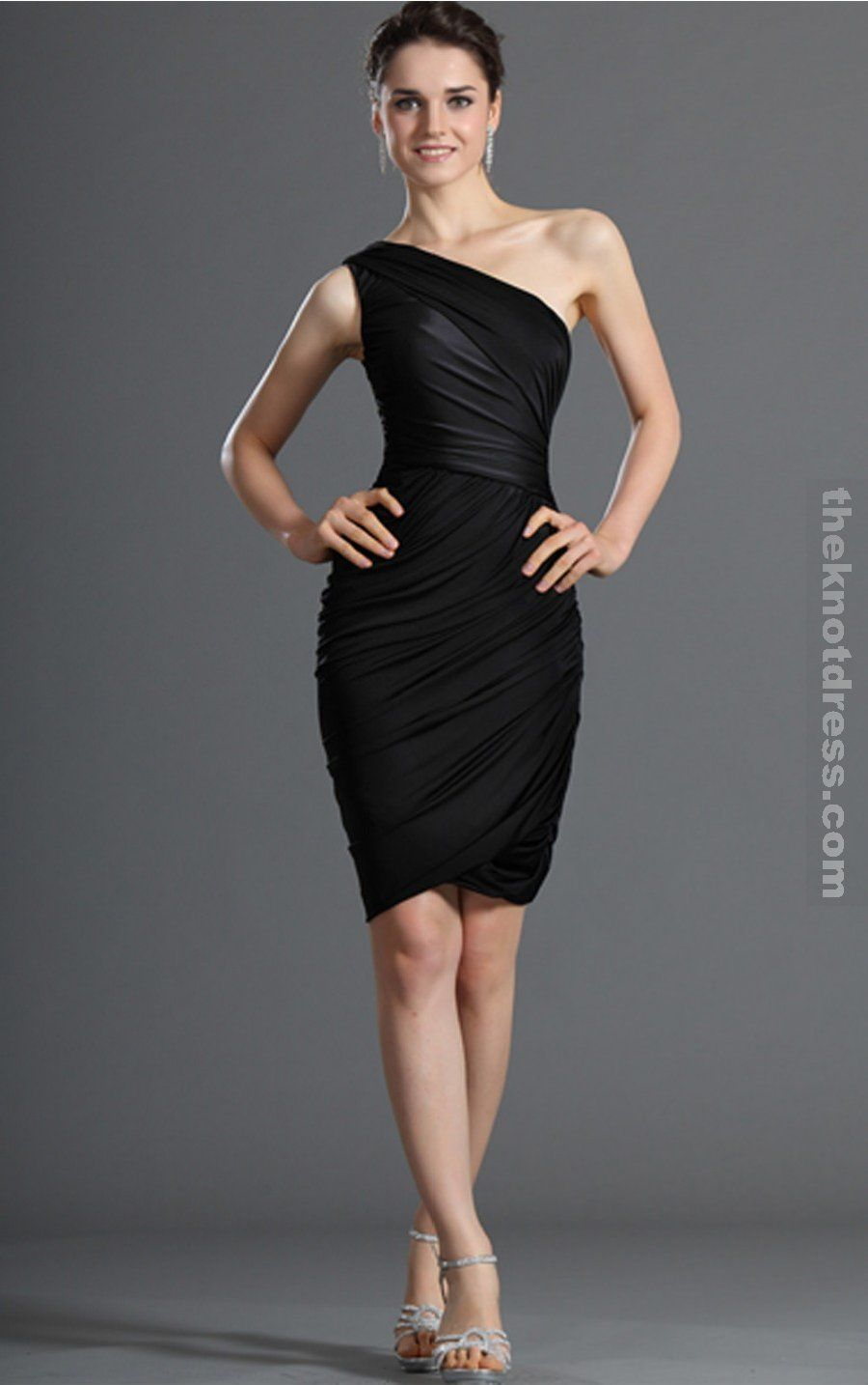 5ce5b64a31677 knee length black one shoulder dress - Google Search