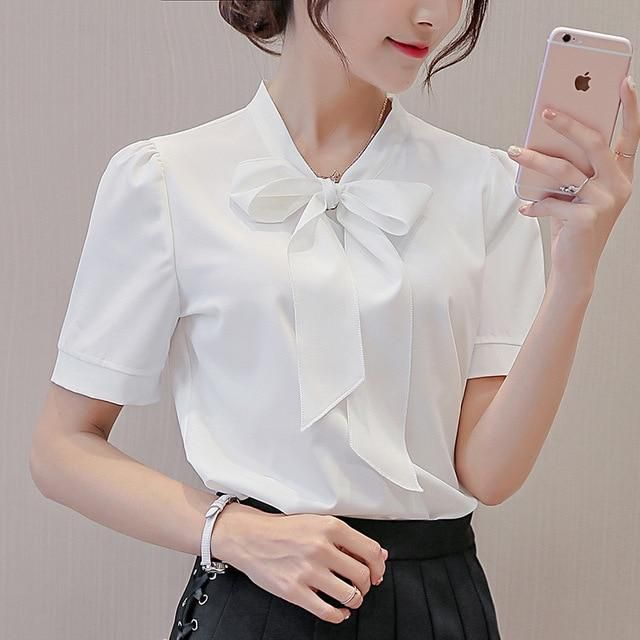 38c16eaab2b8d White Red Blue Women Shirts 2018 Spring Summer Blouse New Sweet Fashion  Plus Size Women s Casual Slim Long Sleeve Shirt Bow Tops