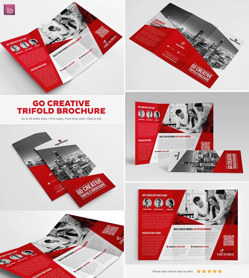 go creative indesign trifold brochure indesign pinterest