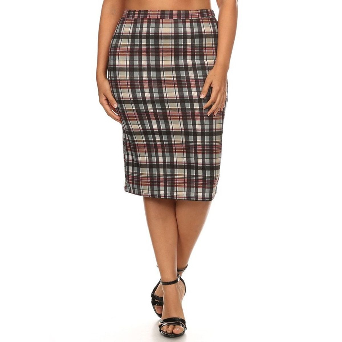 52bab3c5c8d6 Plus Size Plaid Pencil Skirt | Saddha