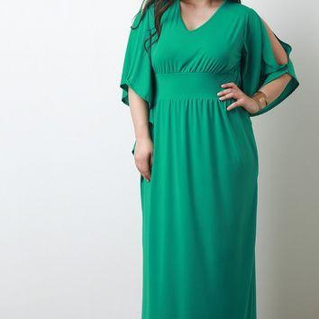 Empire Waist Cold Shoulder Maxi Dress