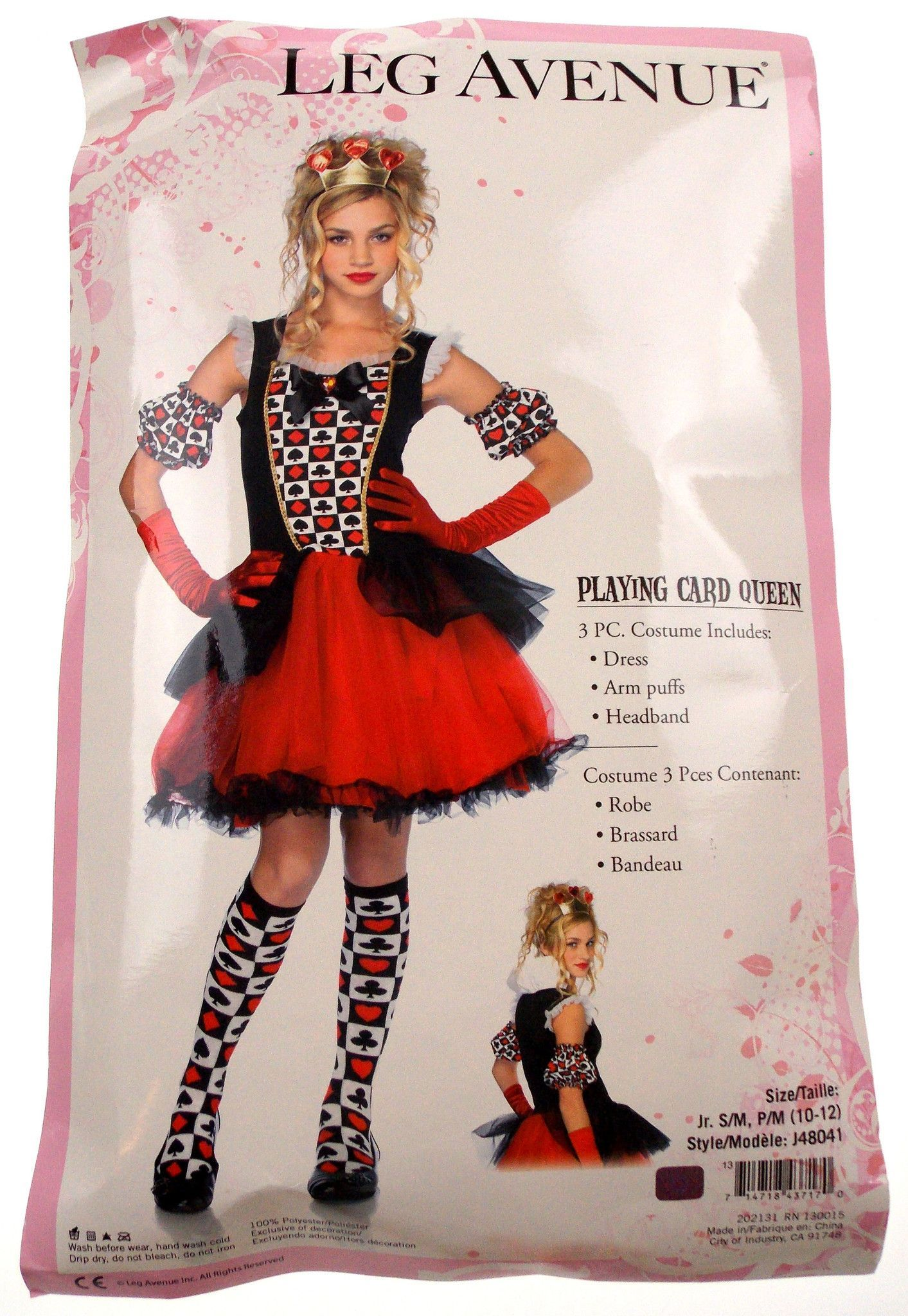 leg avenue playing card queen girls halloween costume size jr sm new in package leg avenue costumes have the following measurements junior sm age 11