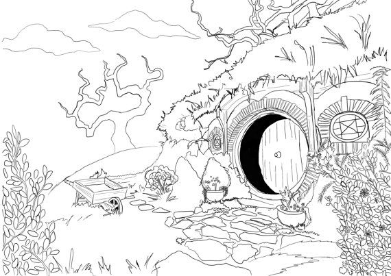 570x403 Adult Coloring Page Hobbit House from Lord of the ...