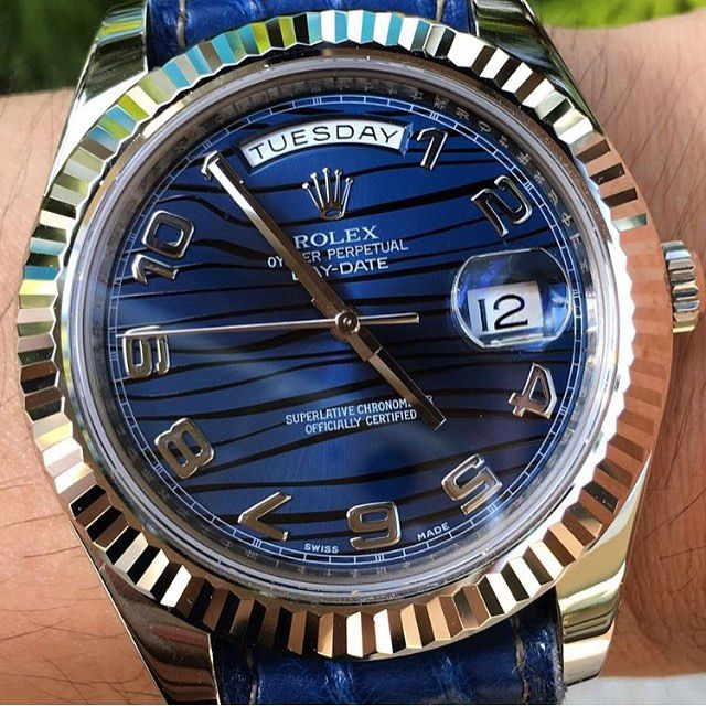Rolex DayDate with a blue wave dial and a blue strap from @arteray  | #LoveWatches