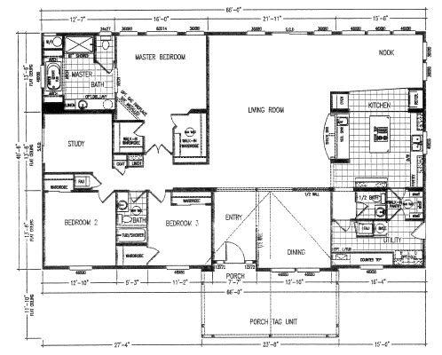 Ranch Style 2670 Floor Plans Modular Floor Plans Mobile Home Floor Plans