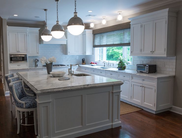 Amazing Kitchen Features White Flat Panel Cabinets Paired With