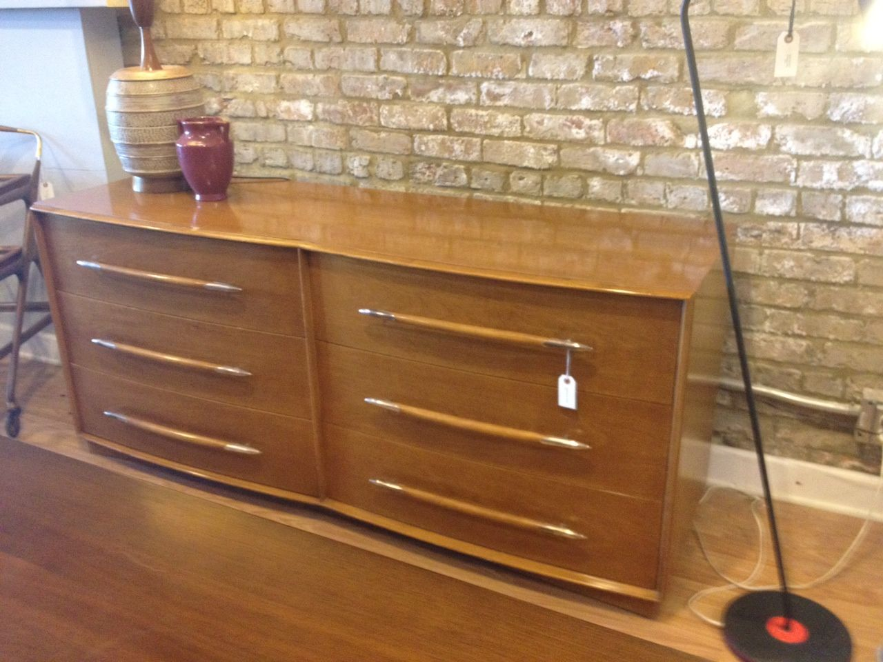 Double witticomb dresser small chip in top chrome and wood pulls
