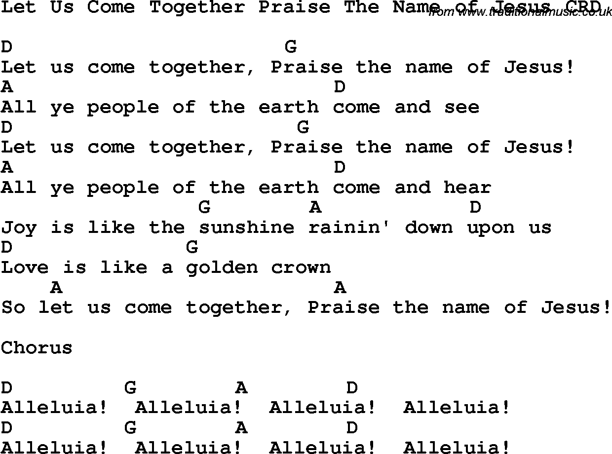 Christian chlidrens song let us come together praise the name of christian chlidrens song let us come together praise the name of jesus crd lyrics chords hexwebz Gallery