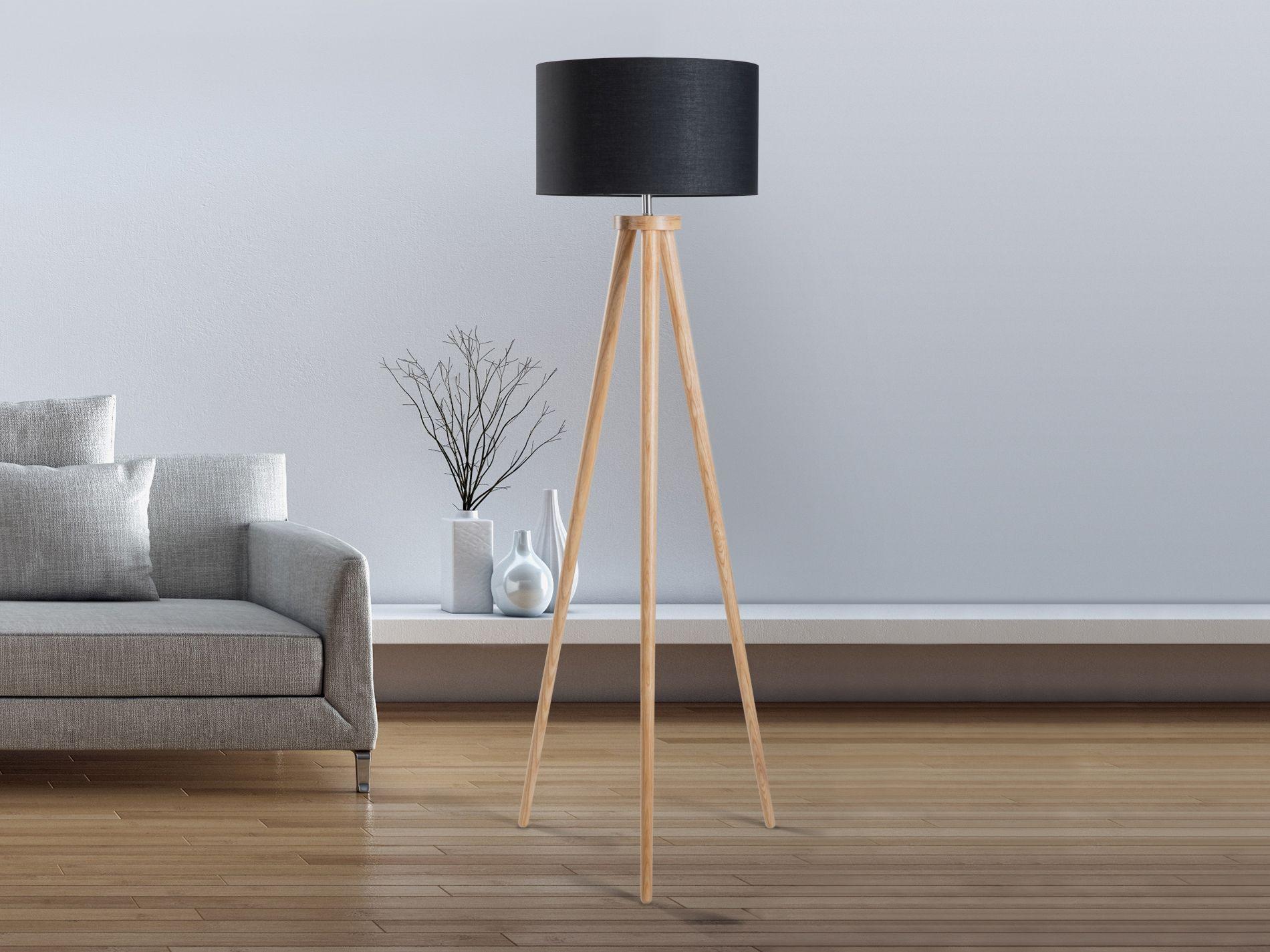 Lampadaire design luminaire lampe de salon noir Nitra