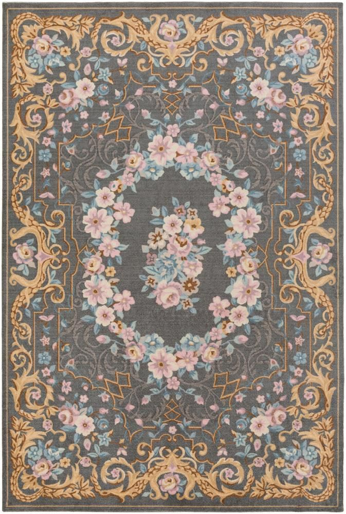 Traditional Multi Colored Gray Country Flowers French Rug