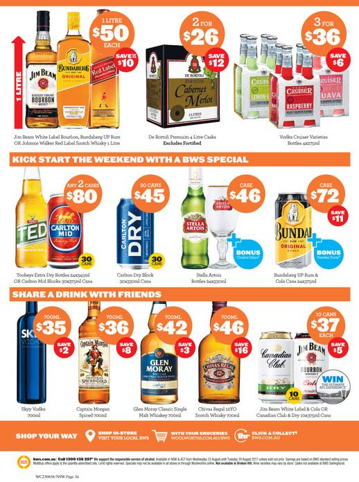 Bws Specials 23 29 August 2017 Http Olcatalogue Com Bws Bws Specials Html Special Weekly Specials Grocery