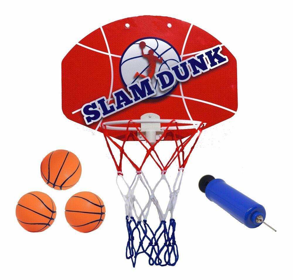 Mini Basketballs Hoop Set Over the Door Plastic Backboard Indoor Kids Game Gift