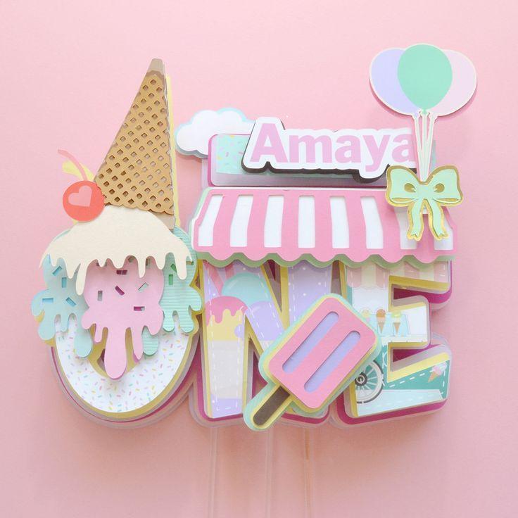 Ice Cream Cake Topper zum ersten Geburtstag, Candy Cake Topper, Original Cake Topper ...   - Projects to Try -