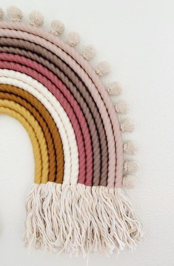 P I P E R  |  Extra Large Pastel Yarn Rainbow Fiber Art Wall Hanging – Nursery Decor