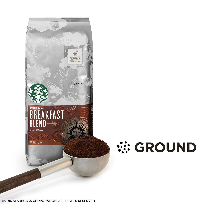 Starbucks Breakfast Blend Medium Roast Ground Coffee, 20
