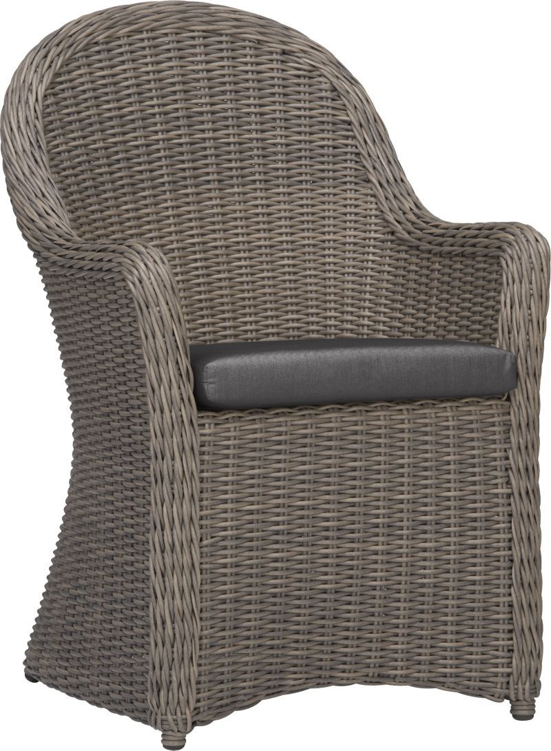Summerlin arm chair with sunbrella charcoal cushion crate