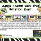 JUNGLE THEME DAILY 5 POSTERS. BRIGHT ANIMAL PRINT BACKGROUNDS WITH A DAILY 5 HEADER, READ TO SELF, READ TO SOMEONE, LISTEN TO READING, WORK ON WRIT...