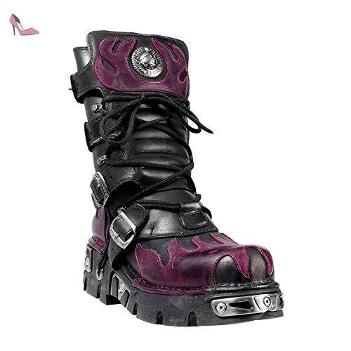 style distinctif magasiner pour l'original belle couleur New Rock Bottes Style 591 Bottes (Noir/Violet) - 38 ...