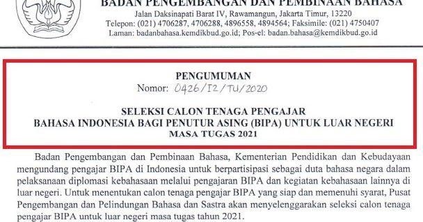 Lowongan Guru Bahasa Indonesia Bagi Penutur Asing Bipa Di Luar Negeri Masa Tugas 2021 Guru Bahasa Pendidikan