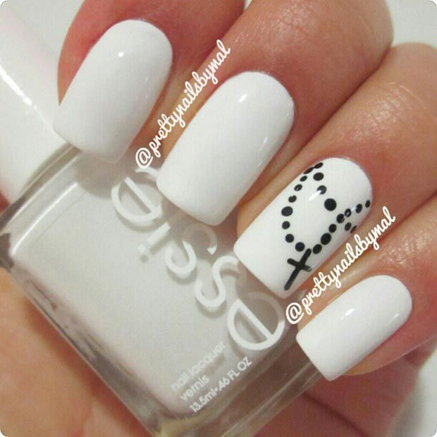 Black and white combination is timeless, elegant and there is no person who  doesn'. Cross Nail DesignsWhite ... - 50 Best Black And White Nail Designs White Nail Designs, Cross