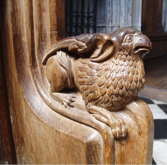 Daily shortread: Art and Death in the Middle Ages by Sigrid Goldiner, Department of Medieval Art and The Cloisters, The Metropolitan Museum of Art. image: One of the carved arm rests of the stalls at the west end of the Beauchamp Chapel by Aidan McRae Thomson *In the ancient world, the mythical beasts called griffins were symbols of royalty and protectors of the dead. They continued to play these roles for Christians.