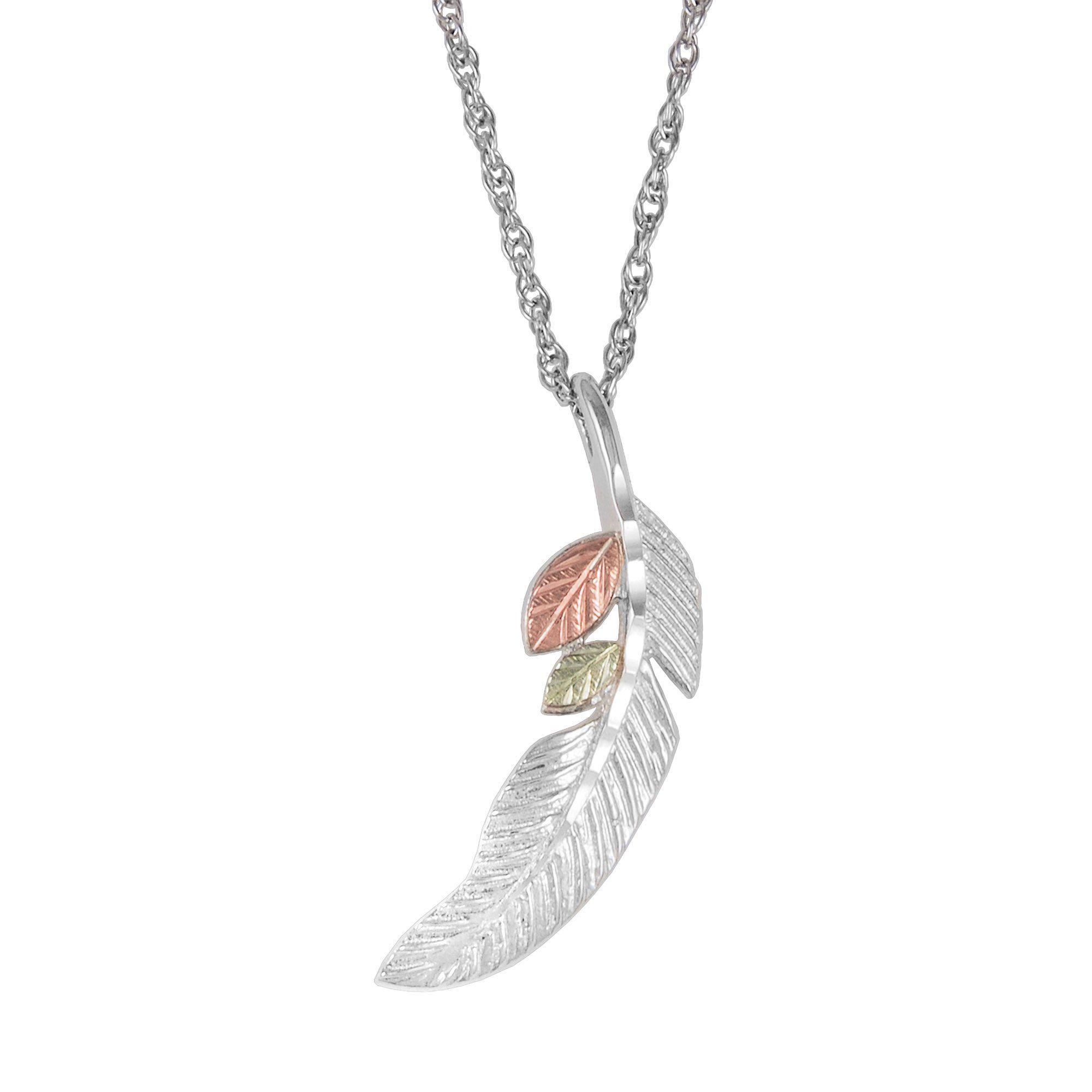 Sterling feather pendant necklace black hills gold black hills sterling feather pendant necklace black hills gold aloadofball Gallery
