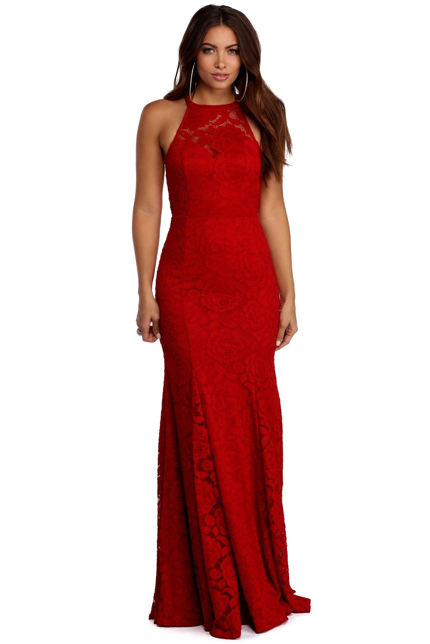 Ariella Red Open Back Lace Dress  df64fc233