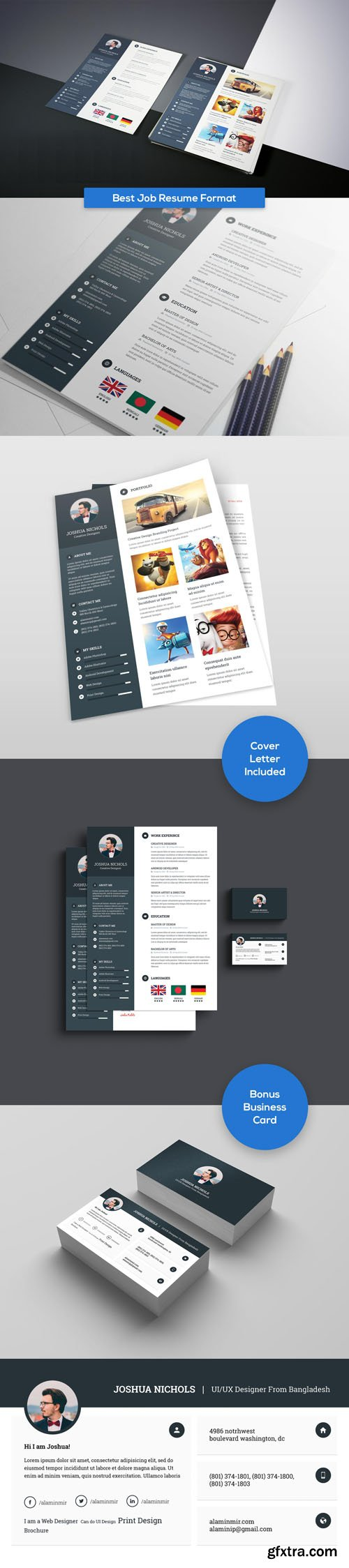 Best job resume format psd templates with business card gfxtra best job resume format psd templates with business card reheart Images