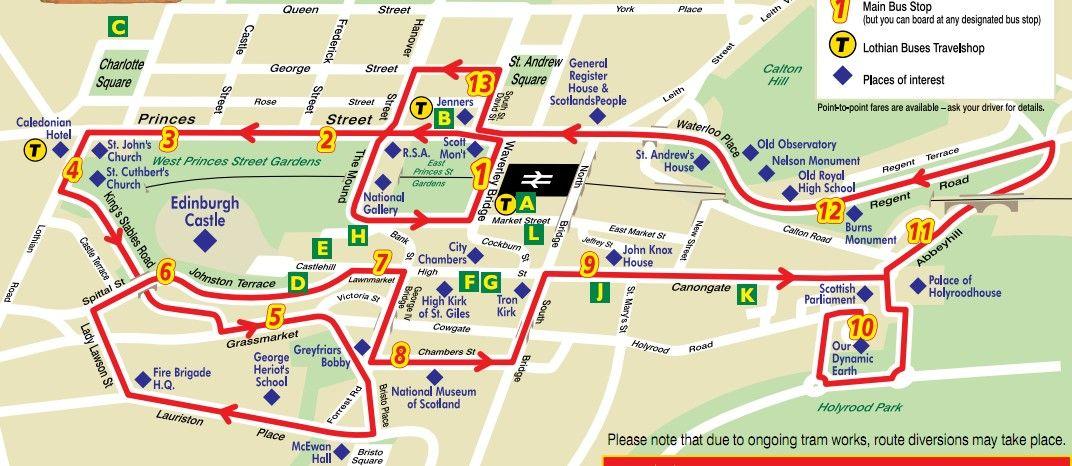 Edinburgh Hop On Hop Off Map Hop on/ Hop off tour | SCOTLAND | Edinburgh tours, Bus map