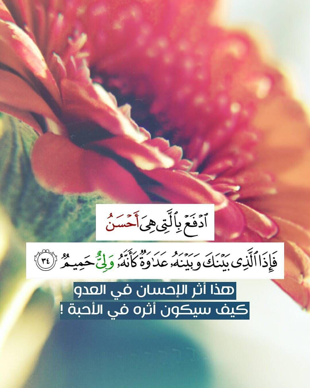 ادفع بالتي هي أحسن فإذا الذي بينك وبينه عداوة كأنه ولي حميم هذا أثر الإحسان في العدو كيف Beautiful Islamic Quotes Islamic Quotes Sweet Words