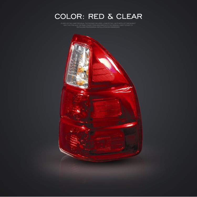 Fit Gx470 2003 2009 Led Taillights 12v Back Lamp Red Clear Red Yellow Assembly Vland Lexustoyotalandcruiserpradotaillight Lexust Tail Light Lamp Red Yellow