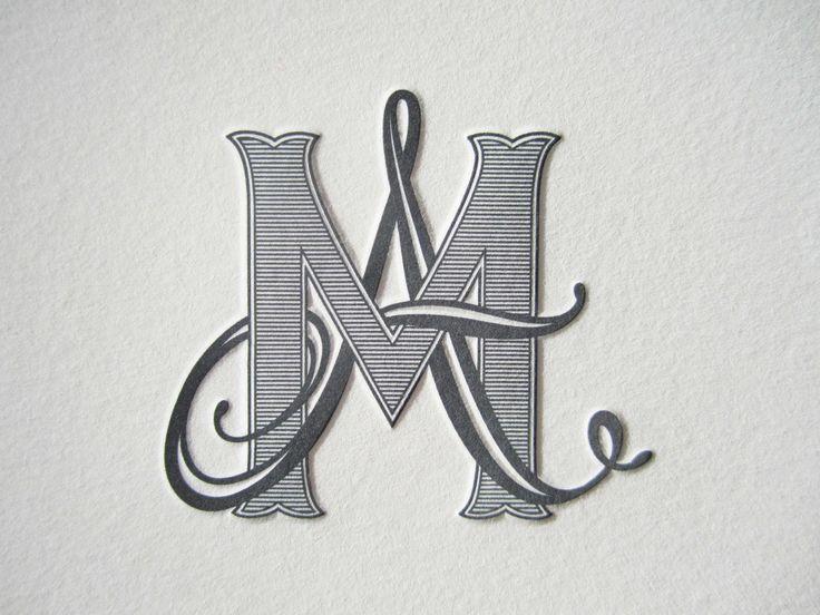 AM . MA Monogram Shaded Script & Block Intertwined