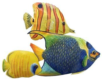 3 Tropical Fish Hand Painted Metal Wall Hanging - Handcrafted ...