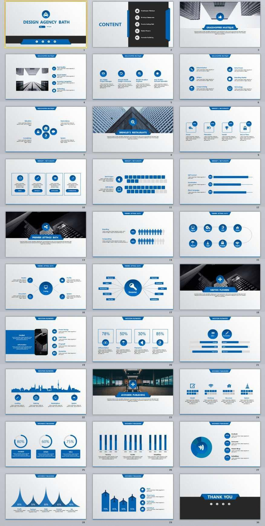 30 Blue Lowpoly Design Powerpoint Templates Powerpoint Design