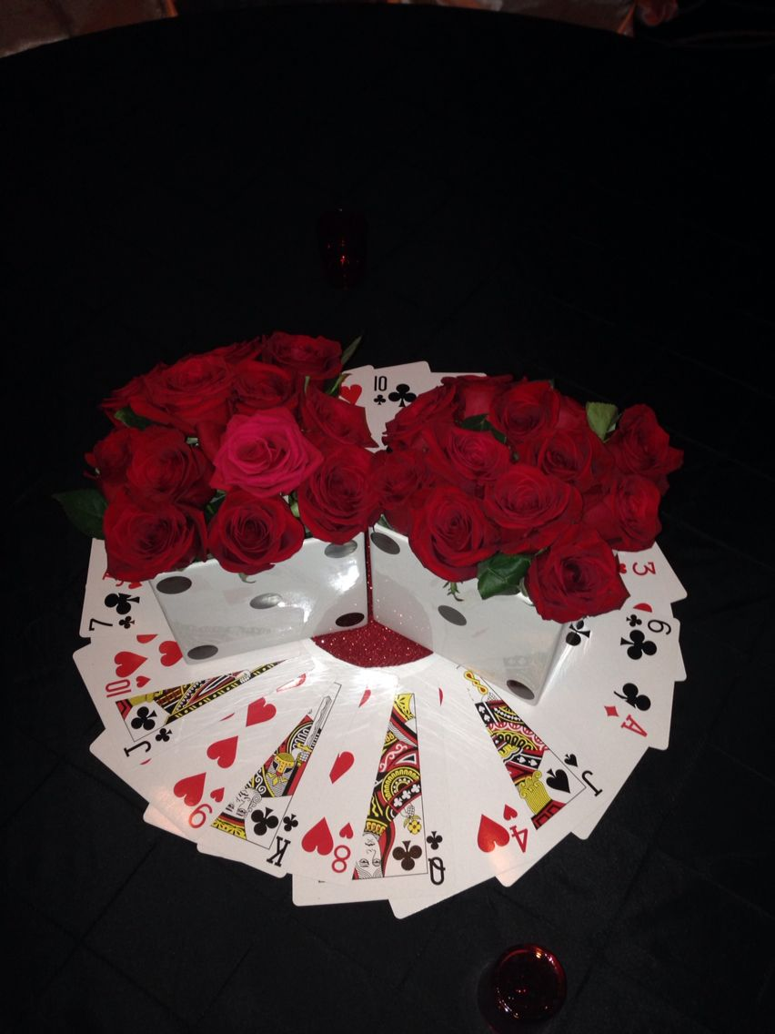 Diy Casino Theme Center Piece Used White Square Vases And Blk