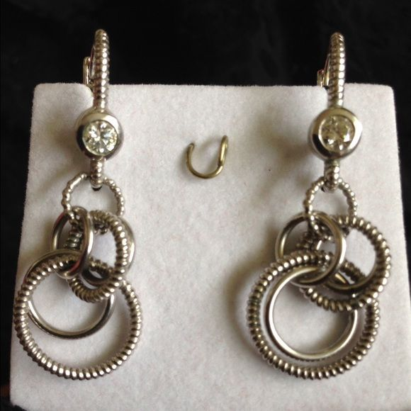Judith Ripka Cz Sterling Drop Dangle Leverback Earrings Marked Signed 925 Thailand Size Rox 1 75 Long 9 6 Grams Condition