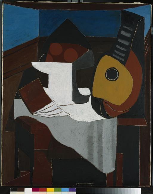 Livre, Compotier Et Mandoline Picasso Pablo (dit), Ruiz Picasso Pablo  (1881 1973) Allemagne, Munich, Pinakothek Der Moderne, Sammlung Moderne  Kunst