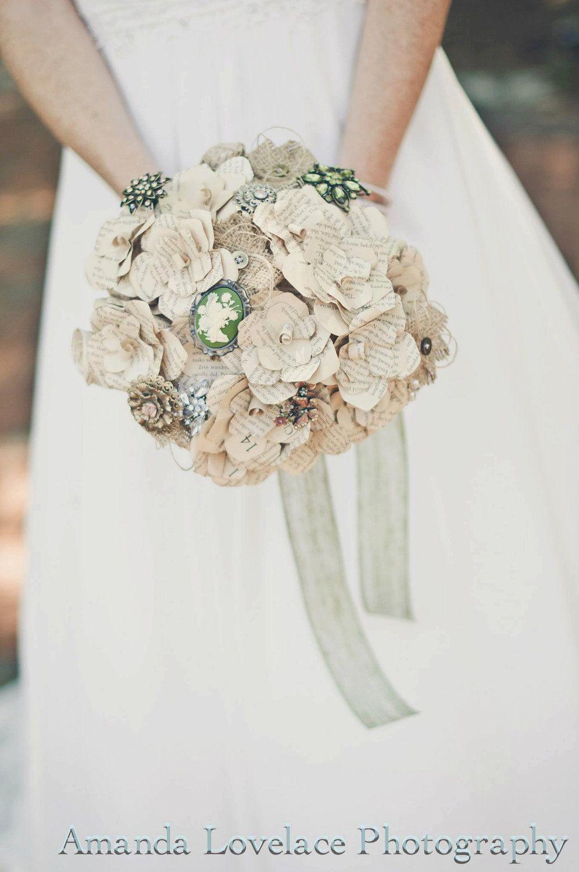 Custom Paper Flower Burlap Andor Brooch Bouquet 45 Someday I
