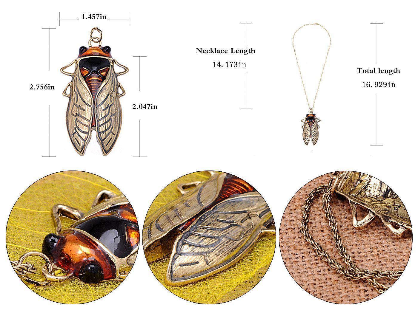 Große antike orange Bernstein Vintage Insekt Zikade Käfer Bug Chain Anhänger Halskette