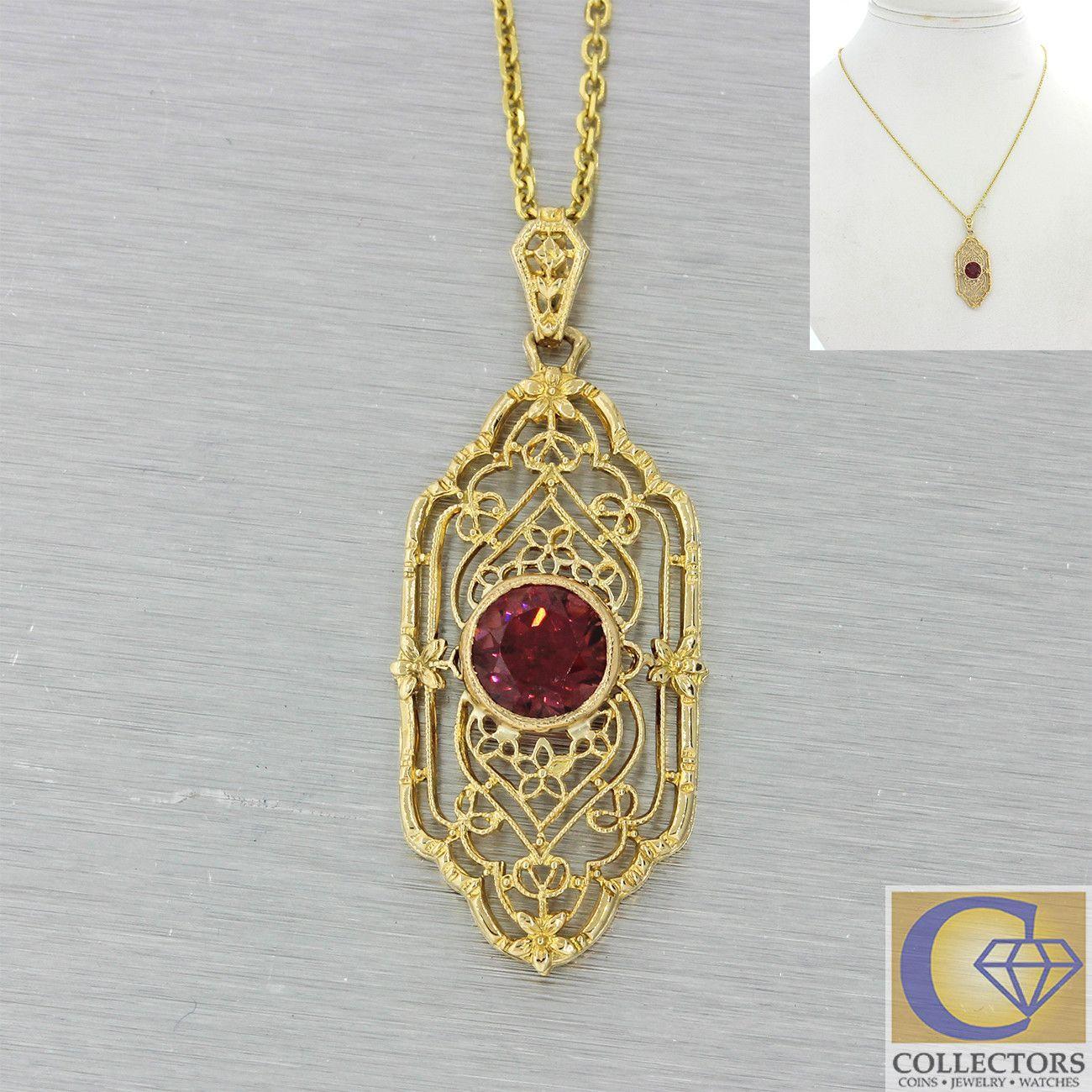S antique art deco k solid yellow gold rubellite garnet