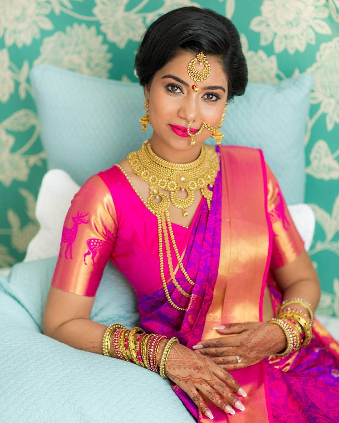 indian wedding photography design%0A South Indian bride  Gold Indian bridal jewelry Temple jewelry  Jhumkis   Purple and