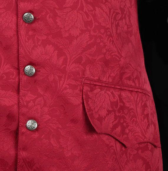 Long 18th Century Style Brocade Waistcoat - Red VMKShV0YNg