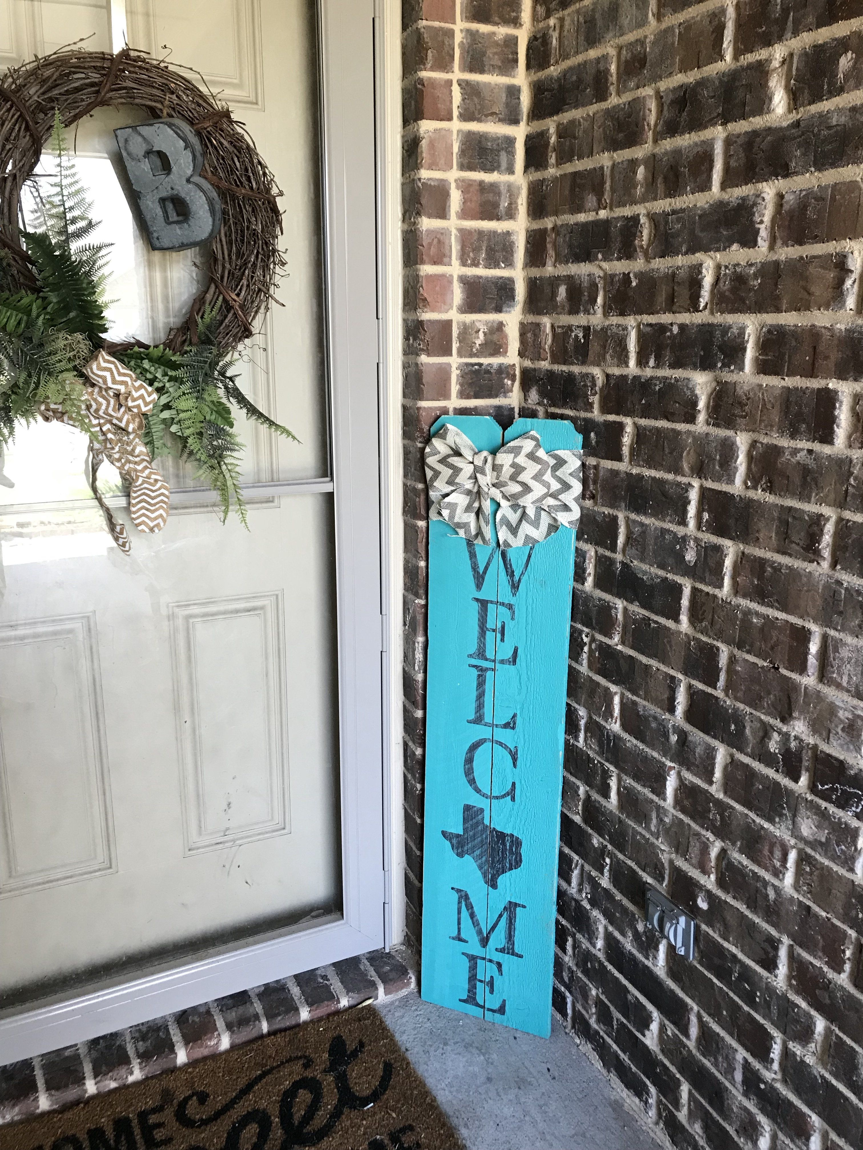 4ft Turquoise Welcome Tx Porch Sign Porch Signs Porch Welcome Sign Welcome Wood Sign