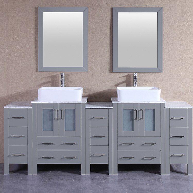 Bosconi Agr224rccm3s 84 Double Bathroom Vanity Set With Carrara