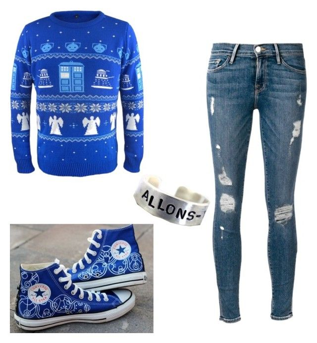 """When you're Doctor Who AF but it's Christmas"" by alwaysapotter-head ❤ liked on Polyvore featuring Frame Denim and Converse"