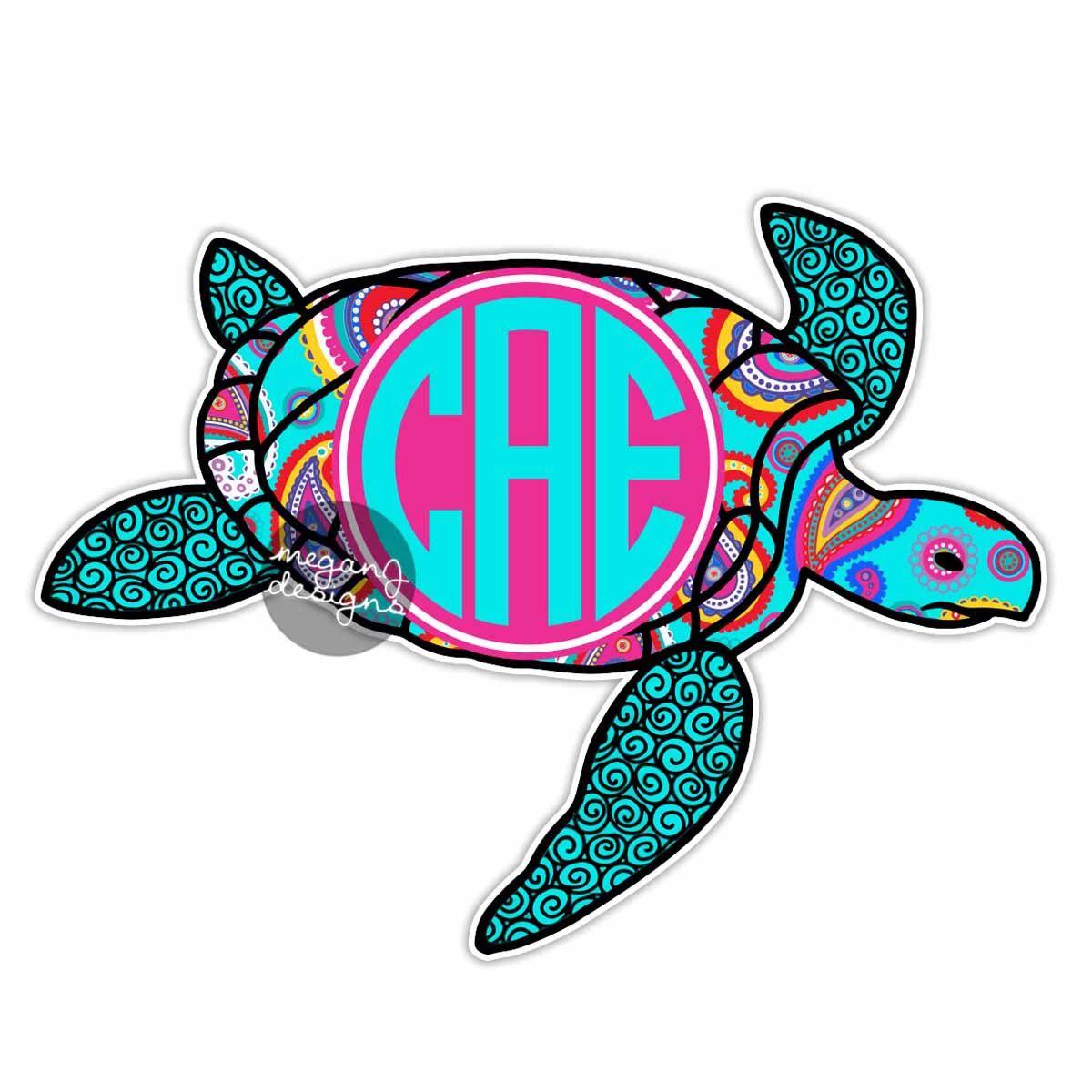 Cute car sticker designs - Custom Paisley Sea Turtle Sticker Colorful Design Cute Car Decal Personalized Initial Laptop Bumper Sticker