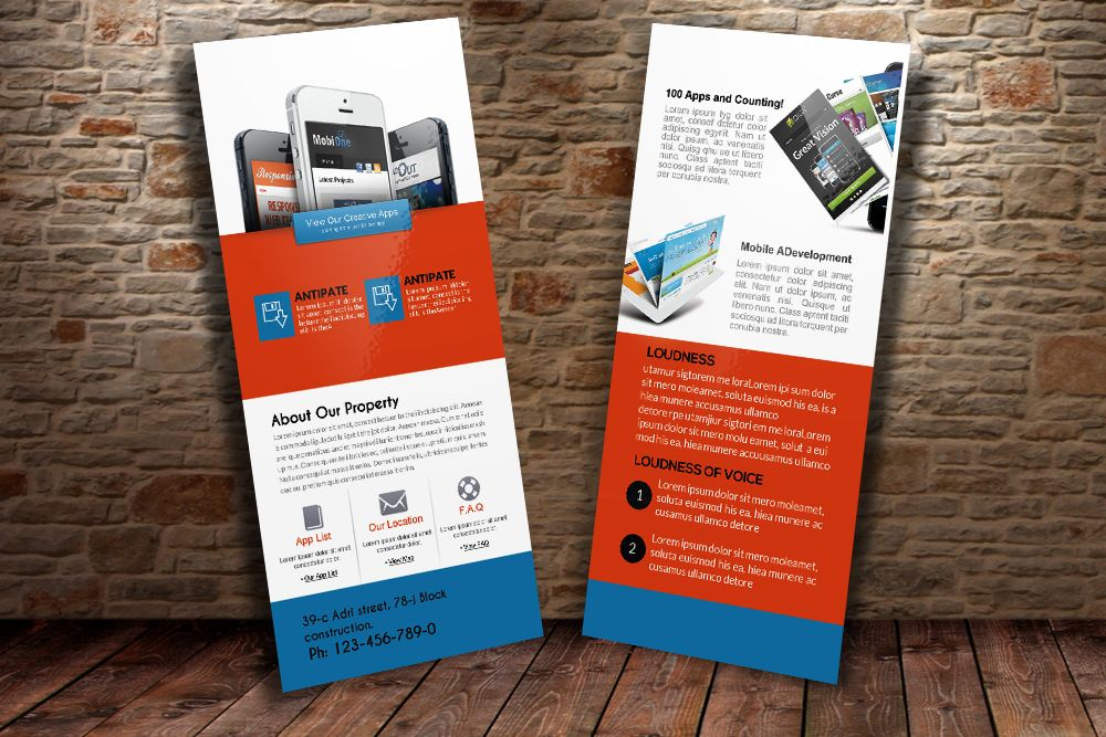 Mobile Apps Rack Card Template By Business Flyers On