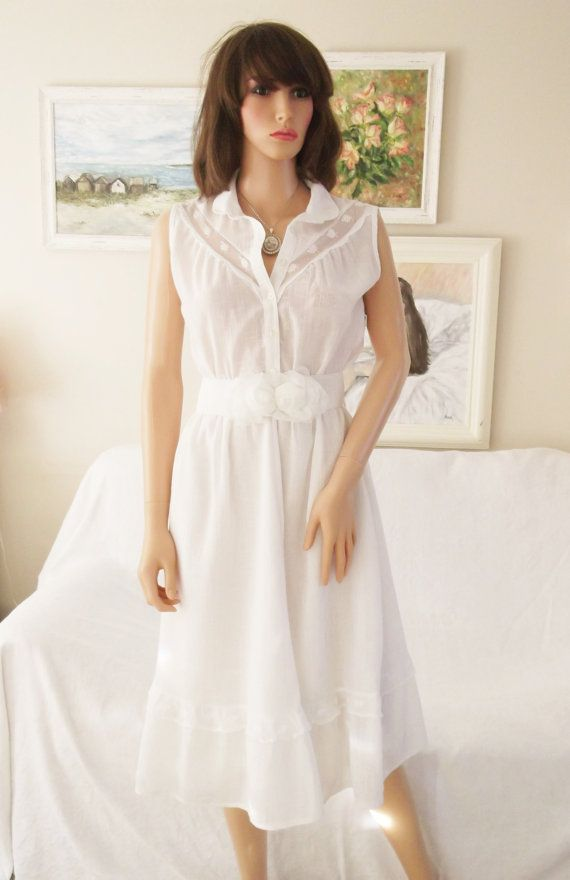 e751efc98ab9 Vintage 70s White lace cheesecloth dress White lace Summer