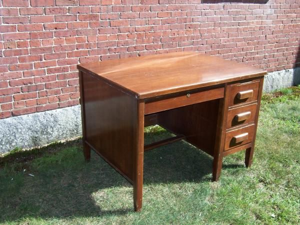 vintage small wood executive desk and swivel office chair Vintage Small Wood  Executive DeskAntique Office Desk - Antique Office Desk For Sale Antique Furniture